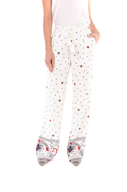 Ivory Printed Crepe de Chine Boarder Drawstring Pants Front
