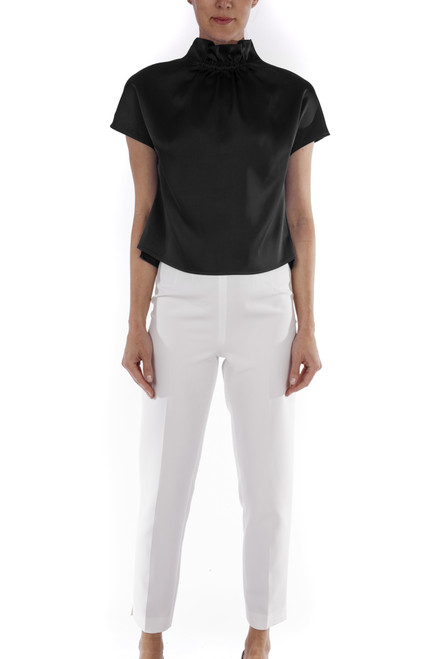 Black Satin Ruched Top Front