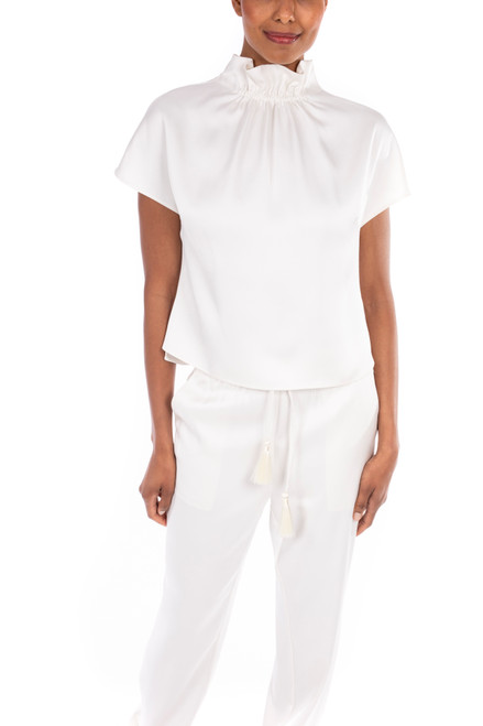 Ivory Satin Rouched Top Front
