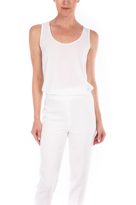 Ivory Georgette Tank Top Front