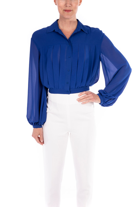 Ink Blue Georgette Pleated Top Front