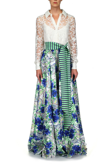 Blue Multi Lace And Printed Mikado Shirt Gown Front