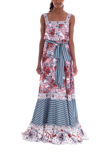 Red Multi Crepe De Chine Printed Gown Front