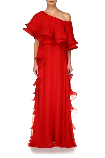 Bright Siam Georgette One Shoulder Caftan Gown Front