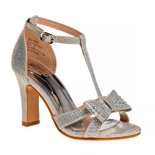 Silver Metallic T-Strap Girls Shoe Heel Front