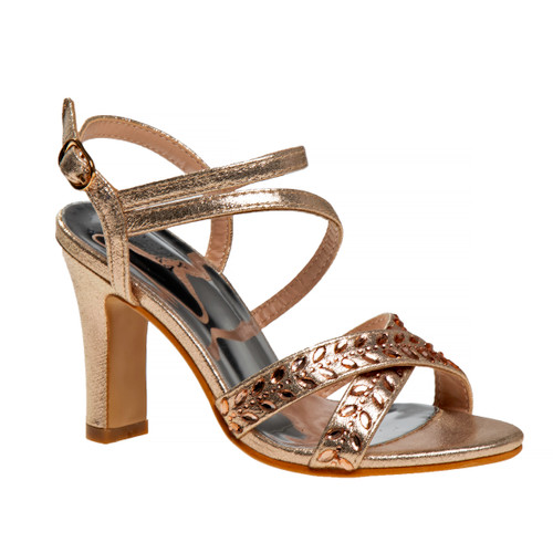 Rose Gold Strappy Open Toe Metallic Girls Shoe Front