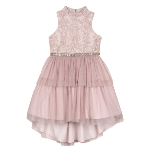 Blush Beaded Embroidered High Neck 2 Tier Tutu Dress with Back Keyhole Front