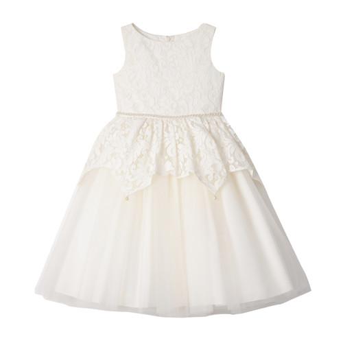 Ivory Jeweled Lace Peplum Ballerina Dress Front