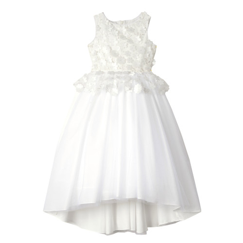 White 3D Floral Bodice Peplum Tulle Hi-Lo Maxi Dress with Bow Sash in Back - Front