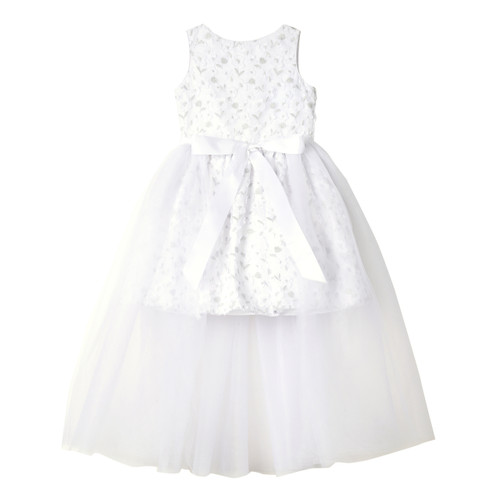 White 3D Flower Tulle Dress with Bow Waist Front