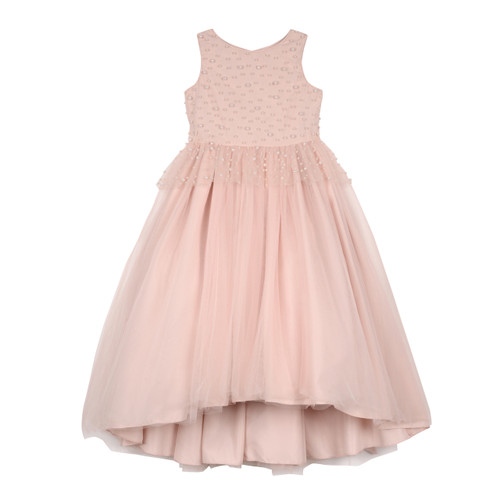 Blush Peplum Pearl Embellished Bodice Hi Low Maxi with Bow Sash in the Back - Front