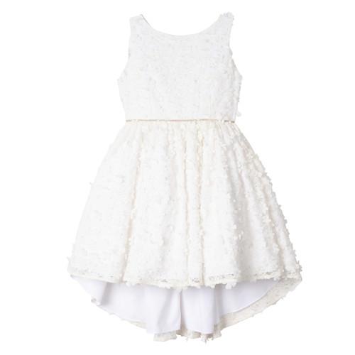 White 3D Floral Appliqué Hi Low Dress Front