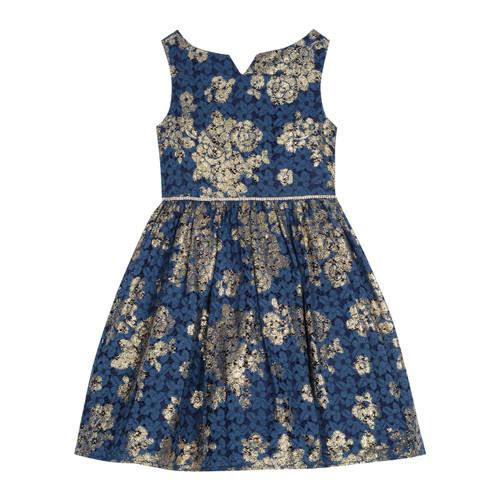 Navy Gold Foil Sleeveless Dress Front