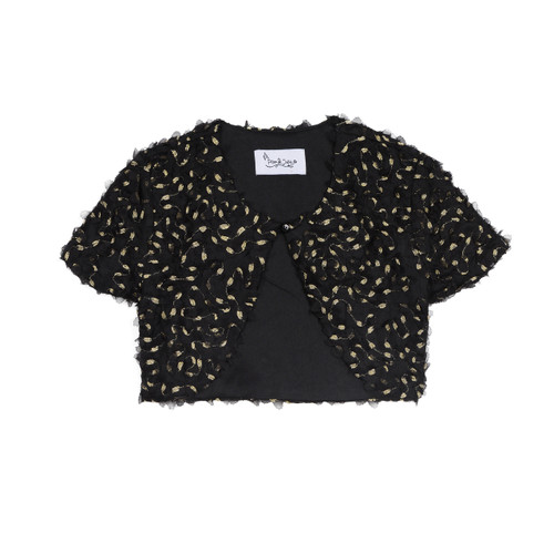Black Short Sleeve with Gold Texture Topper Front