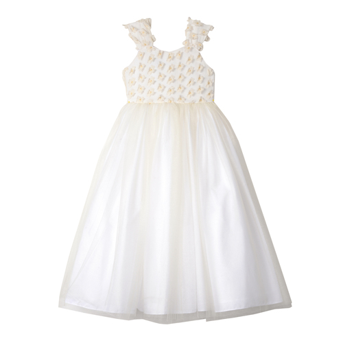 Ivory 3D Flower & Tulle Maxi Dress with Bow Sash in the Back - Front