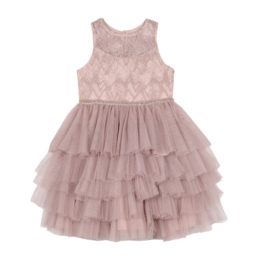 Blush Beaded Illusion Multi Tier Tutu Dress Front