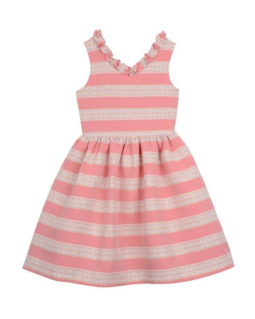 Pink/ White Ruffle Neck (Sizes 7-16) Front
