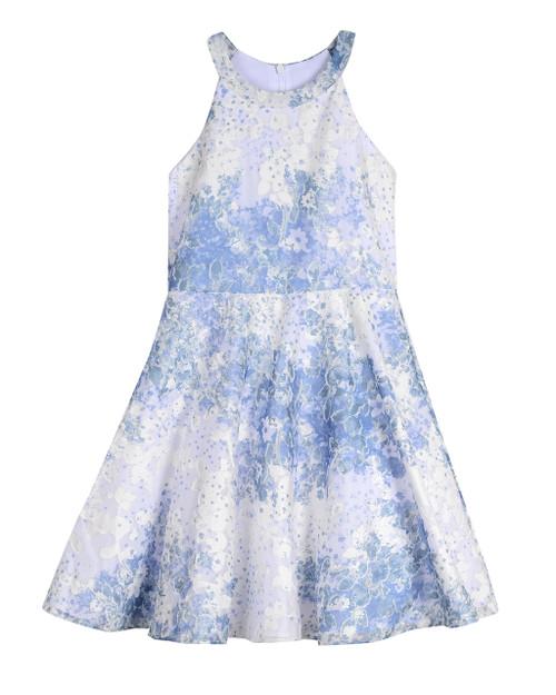 Blue Halter Allover Floral Burnout (Sizes 7-16) Front