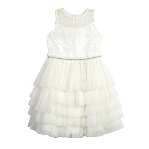 Ivory Beaded Illusion Multi Tier Dress (Size 4-6X)
