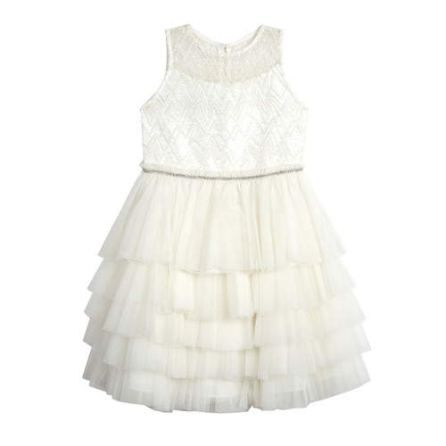 Ivory Beaded Illusion Multi Tier (Size 7-16) Front
