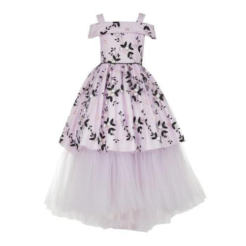 Pink/Black Open Shoulder Hi Low Embroidered Floral Dress