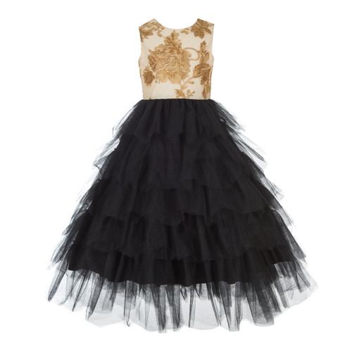 Gold/Black Sequin Bodice Tired Skirt