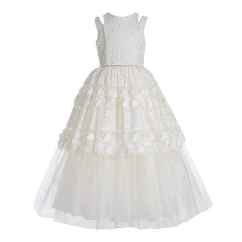 White Lace Over Tulle Dress