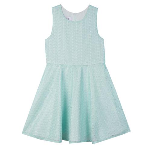 Mint Jeweled Waist Lace Girls Dress