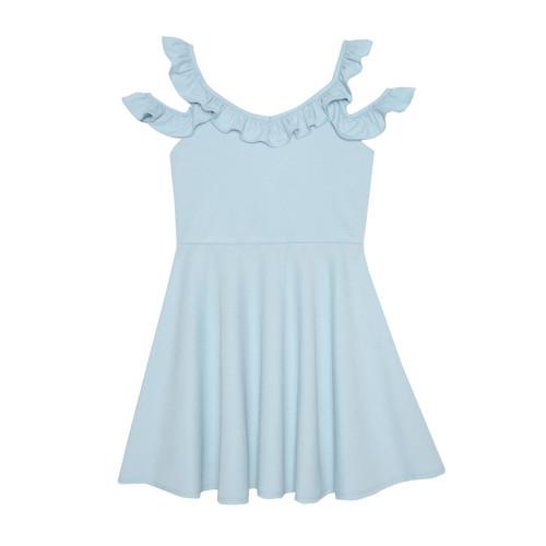 Blue Ruffled Cold Shoulder Skater Girls Dress