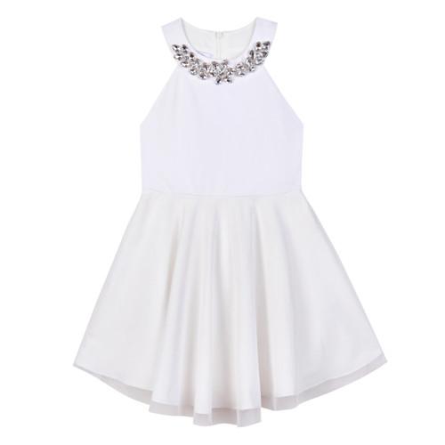 White Embellished Neckline Skater Girls Dress