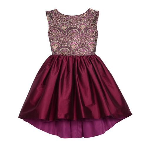Purple/Gold Jacquard Bodice Hi-Low Flare Girls Dress