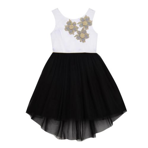 White/Black Tulle Skirt With Applique Bodice Girls Dress