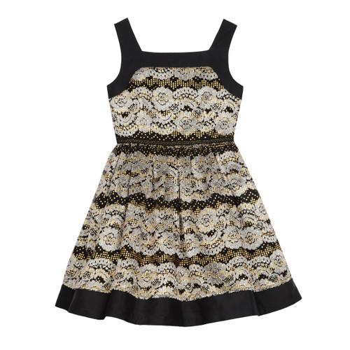 Black/Gold Sleeveless Black And Gold Textured Girls Dress