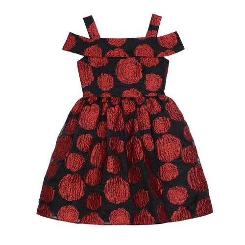 Red/Black Off The Shoulder Rose Jacquard Girls Dress