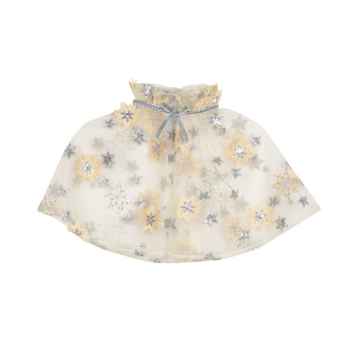 Yellow Embroidered Mesh Girls Cape