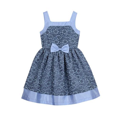 Blue/Navy Blue Lace Skater Bow Girls Dress