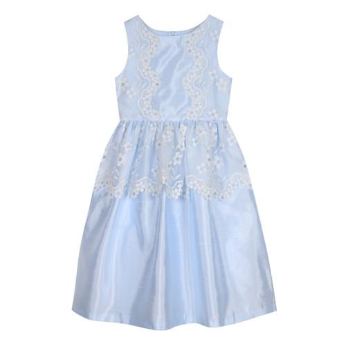 Light Blue Floral Mesh Peplum Girls Dress
