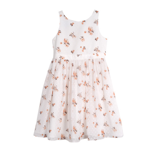 White Floral High Waisted Flare Girls Dress