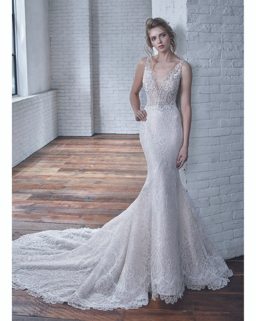 Ivory Beige Cindy Bridal Gown Front