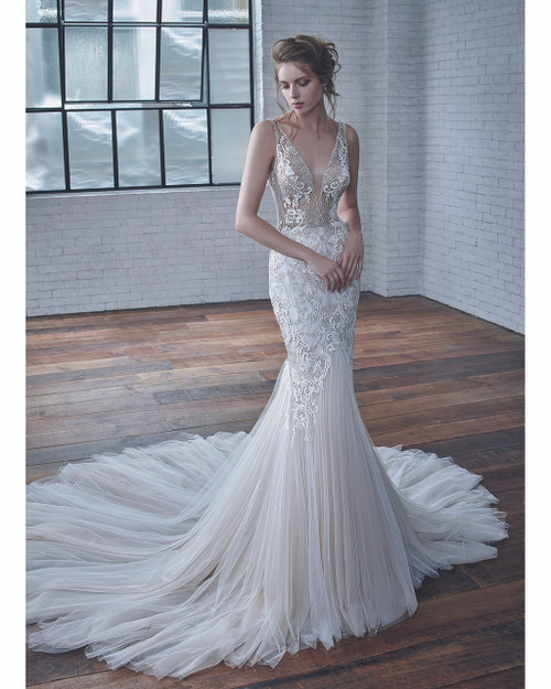 Ivory/Pewter Coco Bridal Gown Front