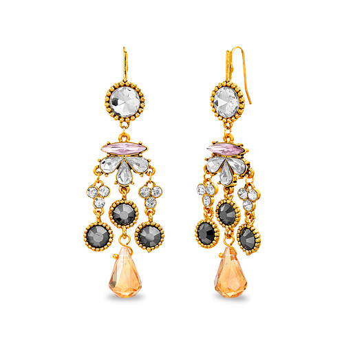 Gold Faceted Stone Chandelier Earring