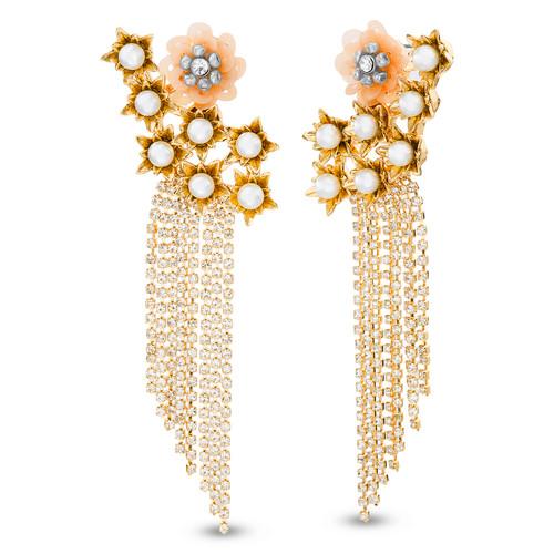 Gold Floral Ear Crawler Fringe Earring