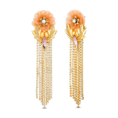 Gold Sequin Flower Rhinestone Fringe Earring