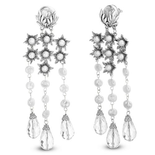 Silver Pearl Drop Statement Earring