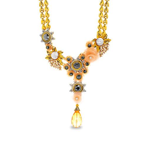 Gold Romantic Statement Floral Y Necklace