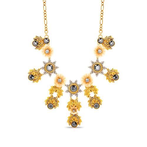 Gold Vintage Floral Statement Necklace