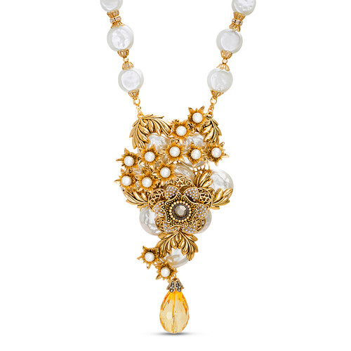 Gold Romantic Pearl Cluster Necklace