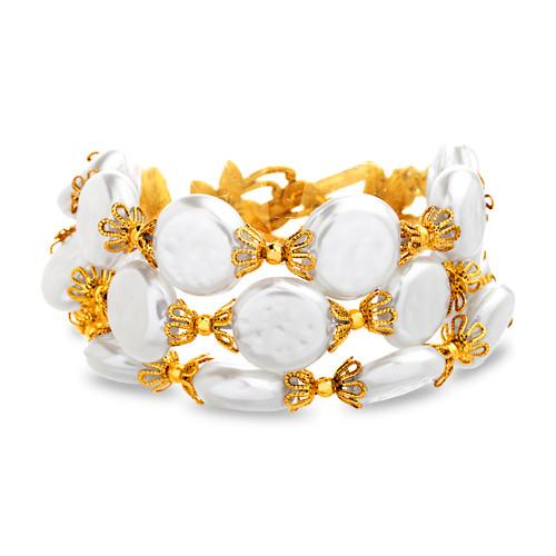 Gold 3 Row Vintage Pearl Bracelet