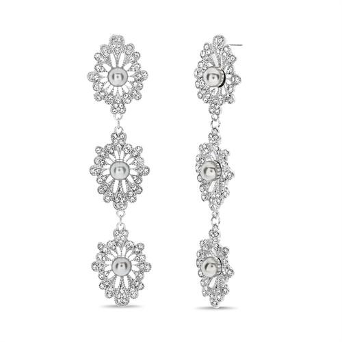 Silver Filagree Rhinestone And Pearl Linear Earring