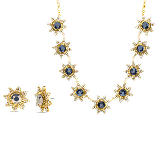 Gold Romantic 2 Tone Necklace And Earring Set